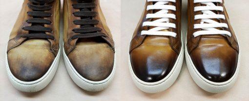 Перекраска кожаной обуви (кеды).