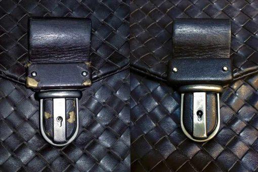 Ремонт кожаной отделки на замке портфеля.