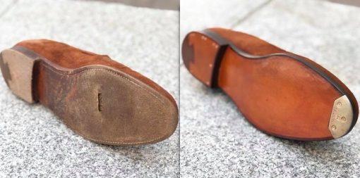 Заменили кожаную подошву для ботинка и посталвили мысок